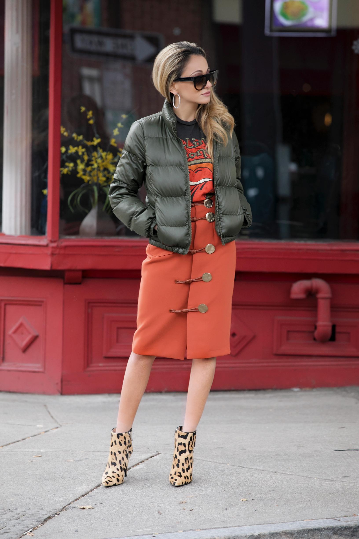 Tee: Madeworn |Skirt: Storets |Puffer: J.Crew (older//similar  here )|Booties:Barbara Bui (older)   Dino Petrocelli Photography