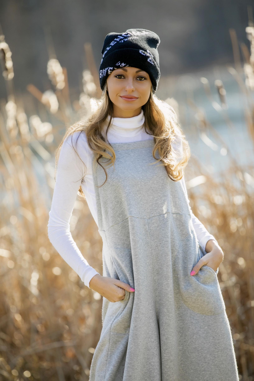Balenciaga beanie, free people overalls