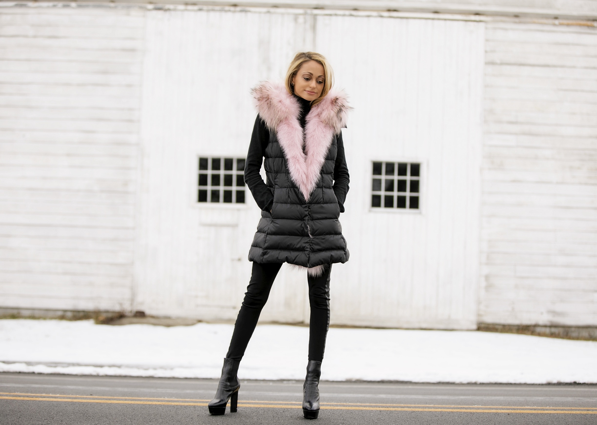 dawn levy traveler vest with pink fur