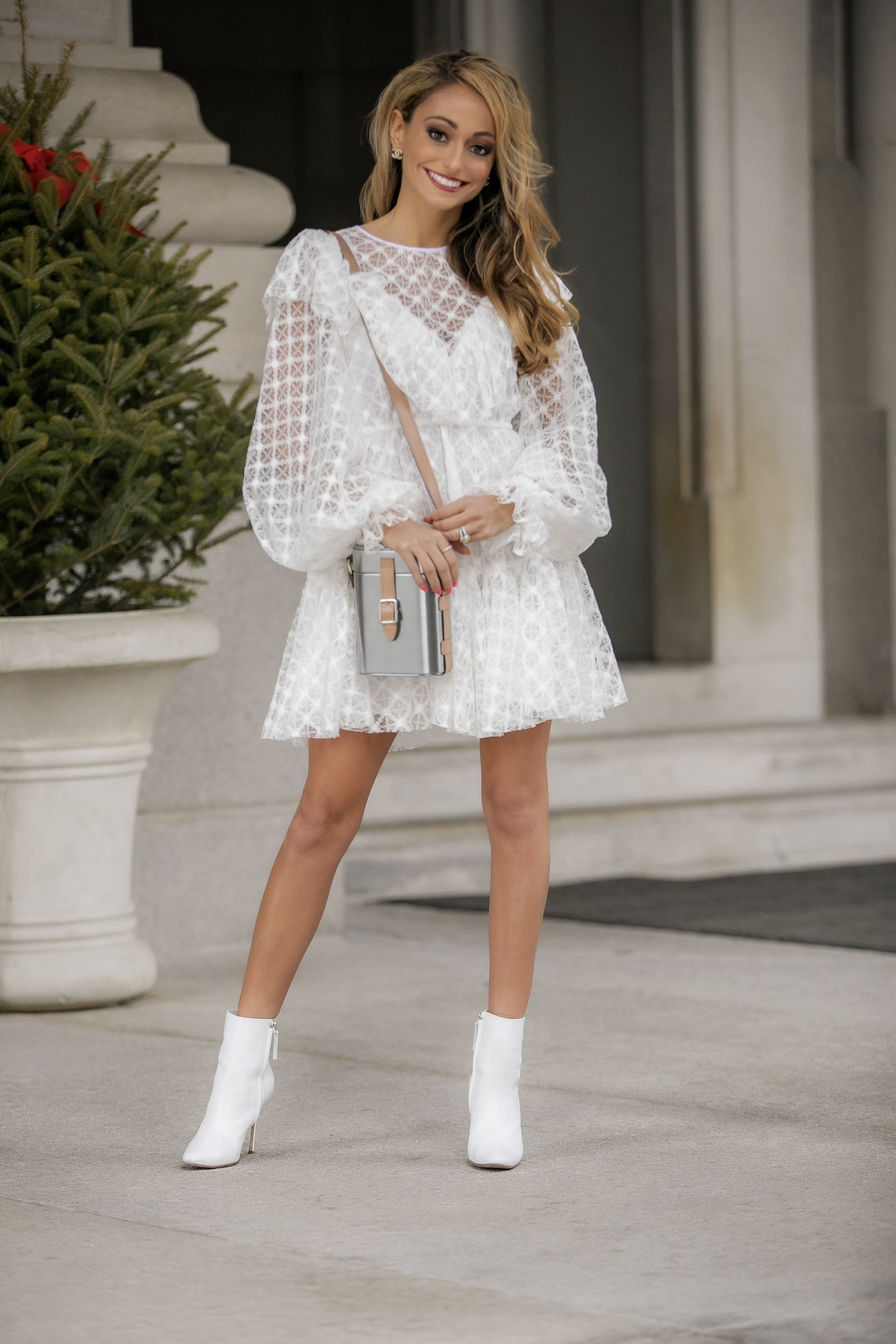 white lace dress by Milly, Officinal Del Poggio bag, Manolo Blahnik booties