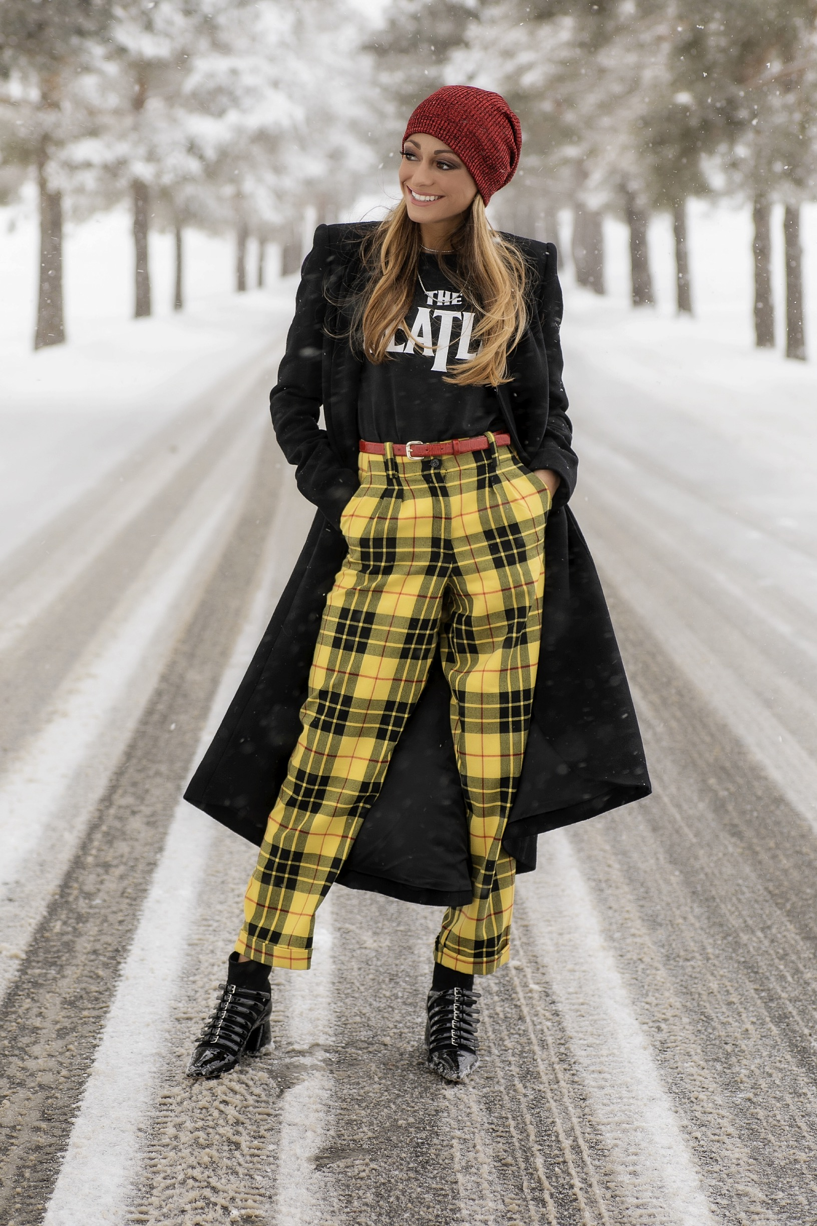 The Beatles Tee worn with yellow checkered mensy trousers on lauren recchia