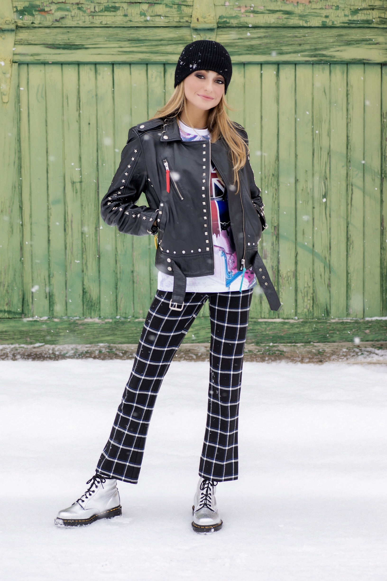 Nicole Miller leather jacket worn with Derek Lam 10 crosby checkered trousers
