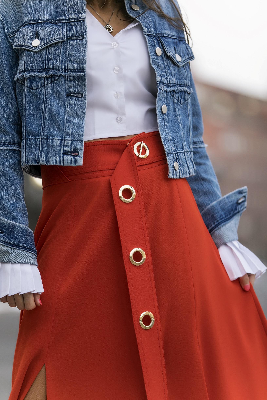 cropped denim jacket by J Brand and Derek Lam belted midi skirt