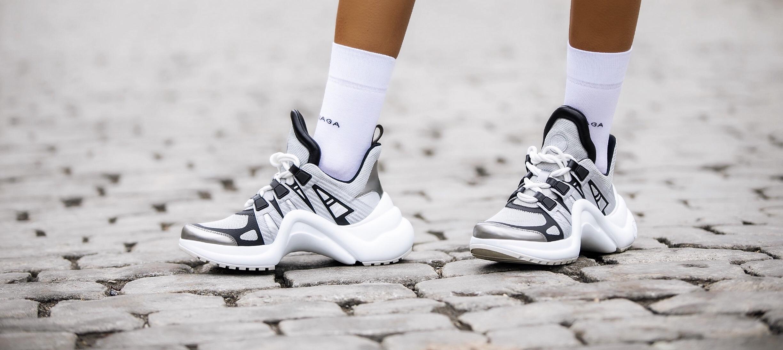 Louis Vuitton sneakers and balenciaga socks