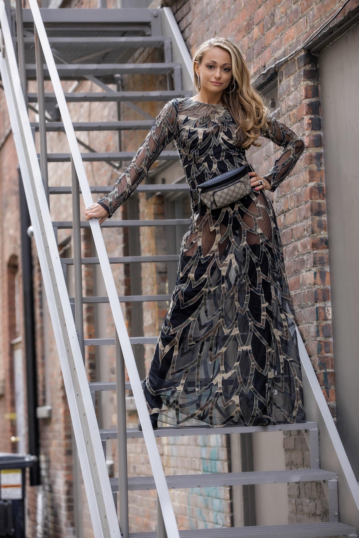 Nicole Miller dress, Balenciaga boots, Gucci belt bag fashion week streetstyle