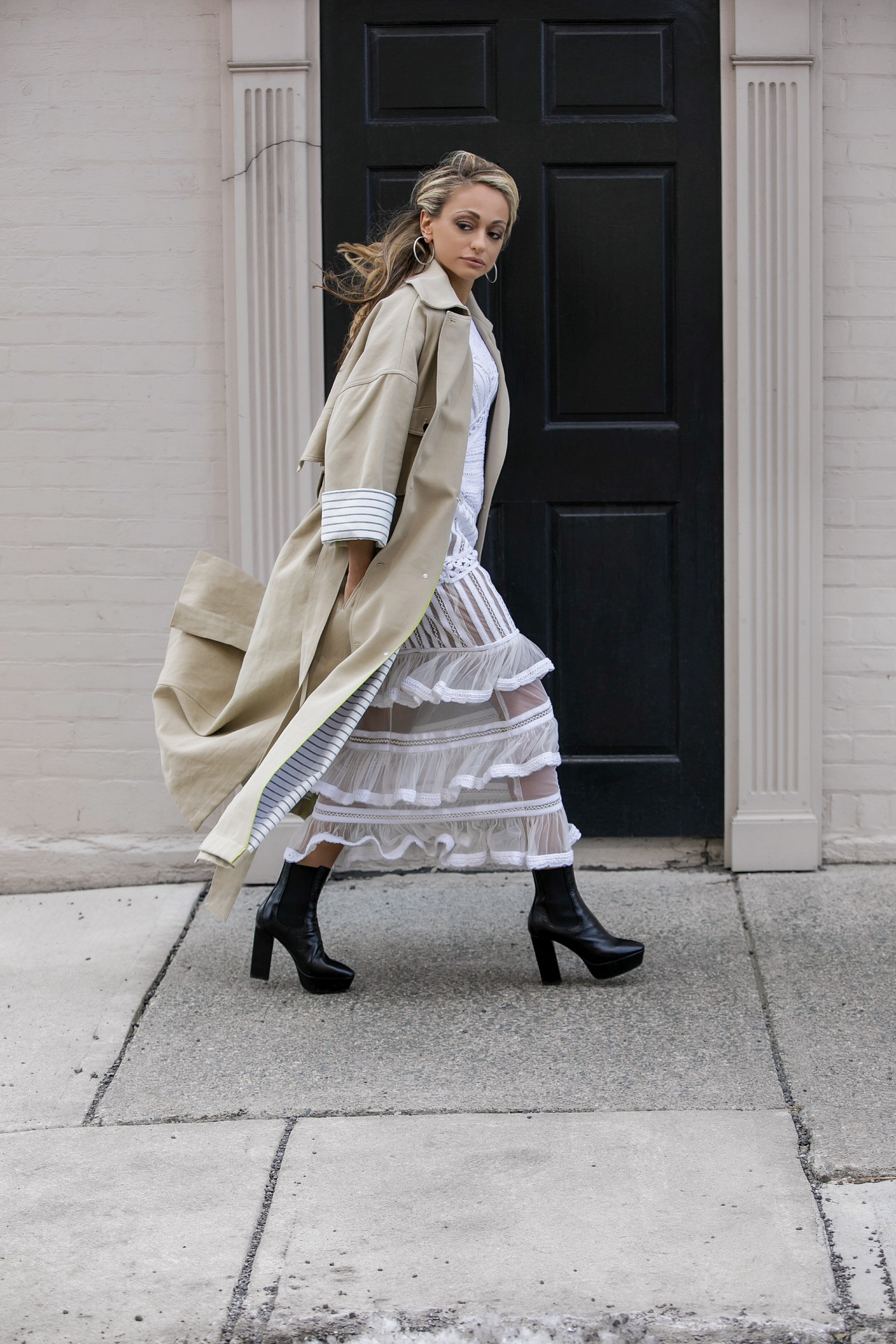 Nicole Miller oversized trench coat and beaded white dress