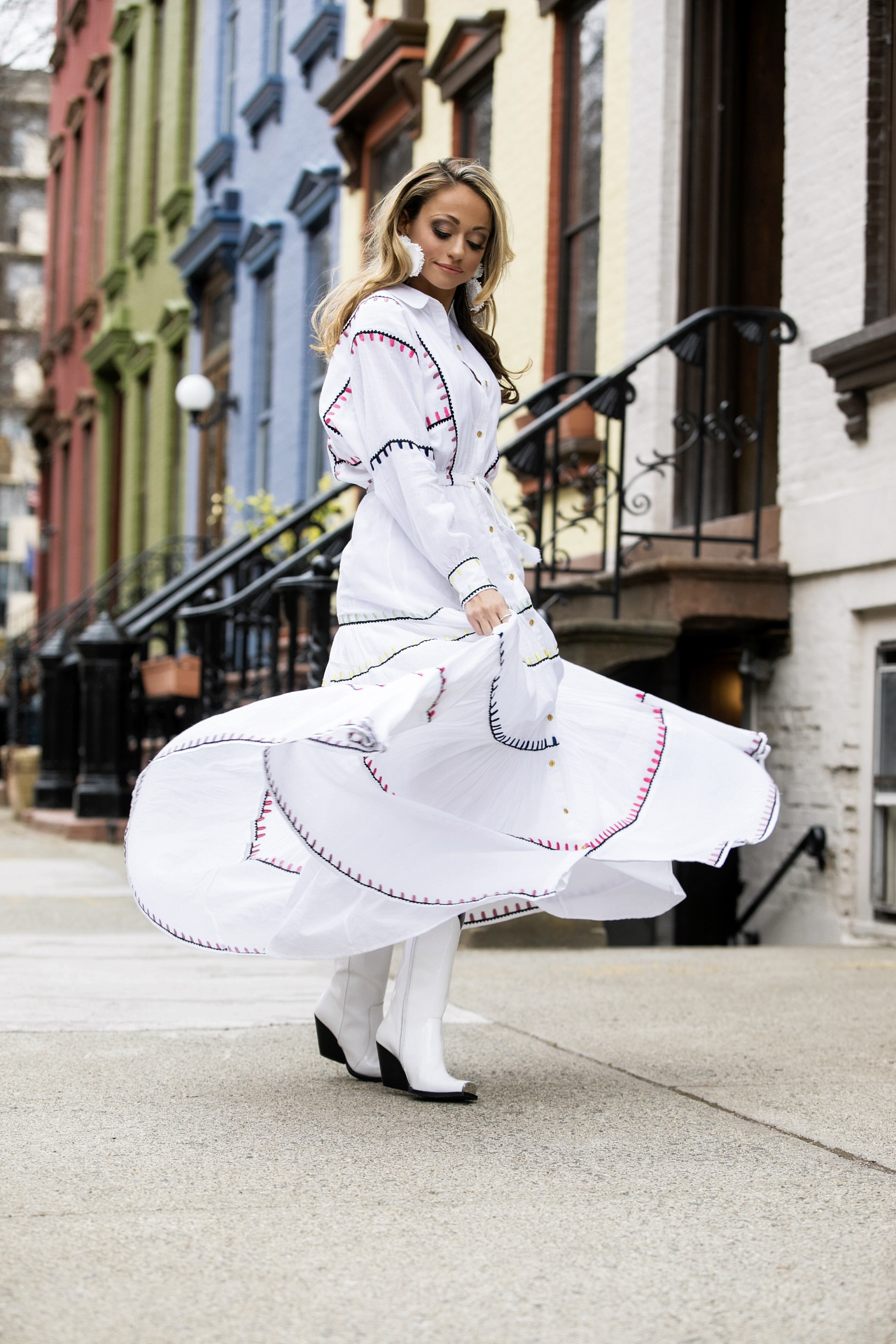 maxi dress and cowboy boots spring 2018