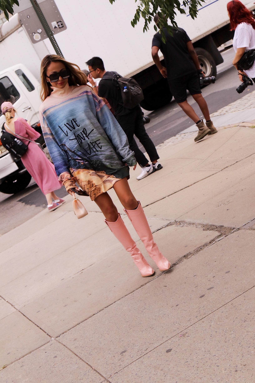 new york fashion week street style by Lauren Recchia wearing Marques Almeida and Fendi