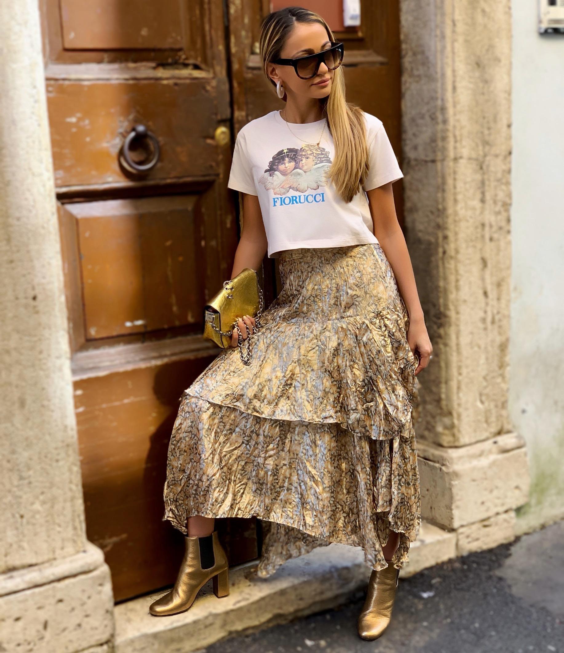 Tee:   Fiorucci  | Skirt:  LoveShackFancy  |Boots: Saint Laurent (older//last seen   here  )