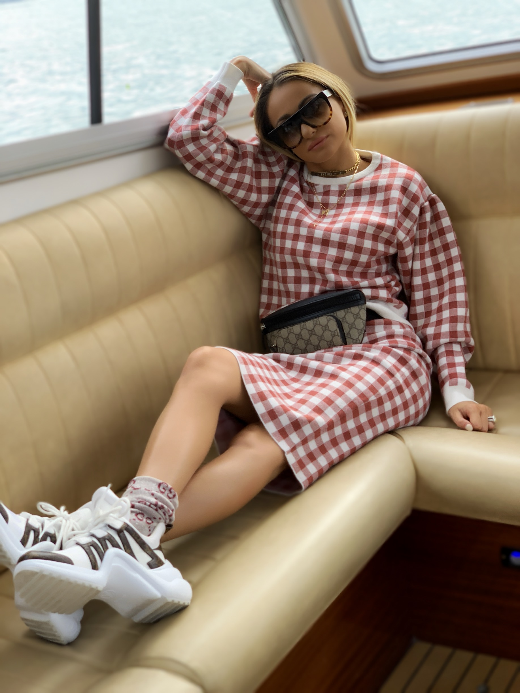 English Factory   Sweatshirt  /   Skirt  | Gucci   Belt Bag