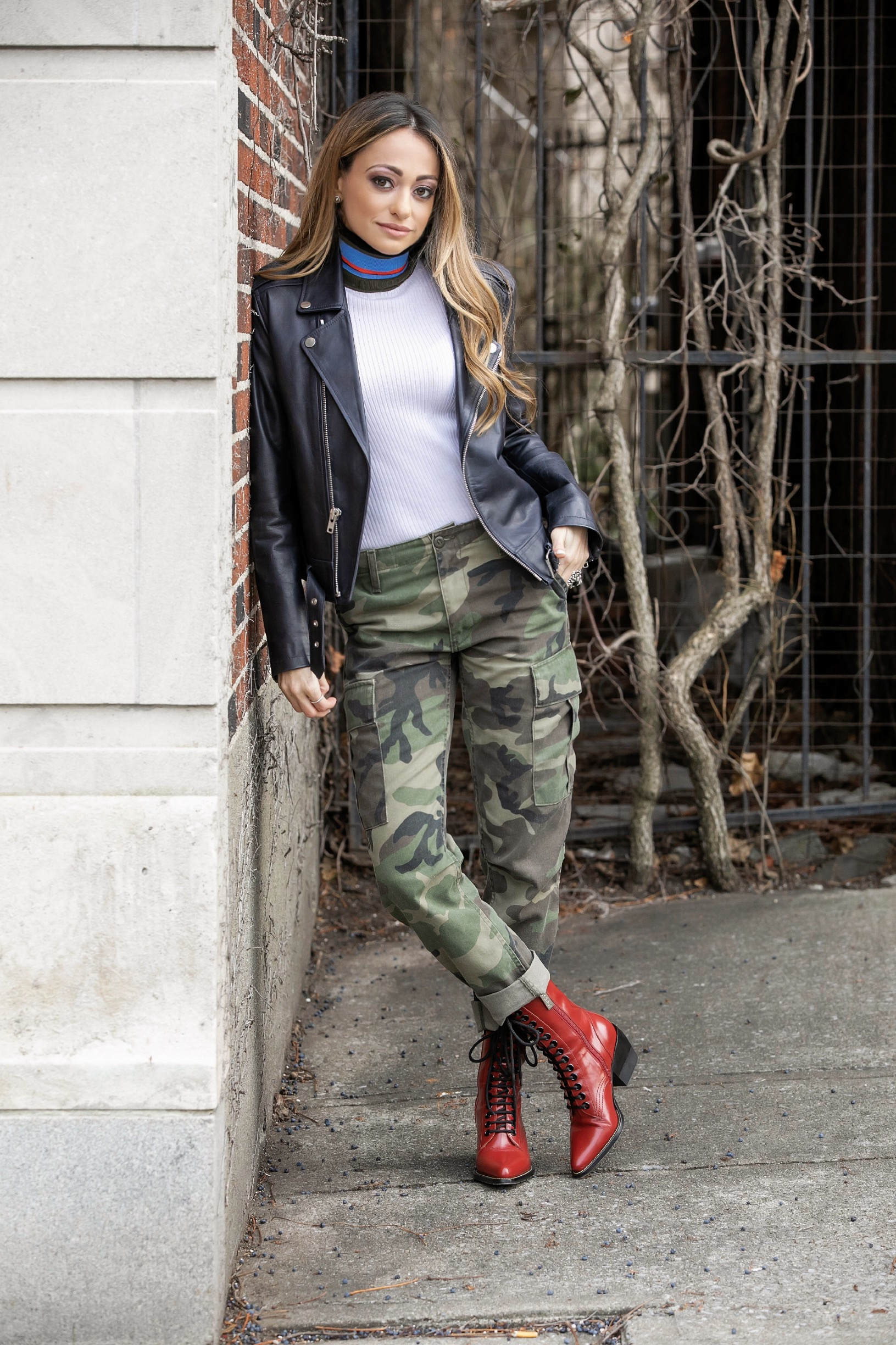 proenza schouler ribbed turtleneck, re/done camo cargo pants, theory leather jacket, chloe boots
