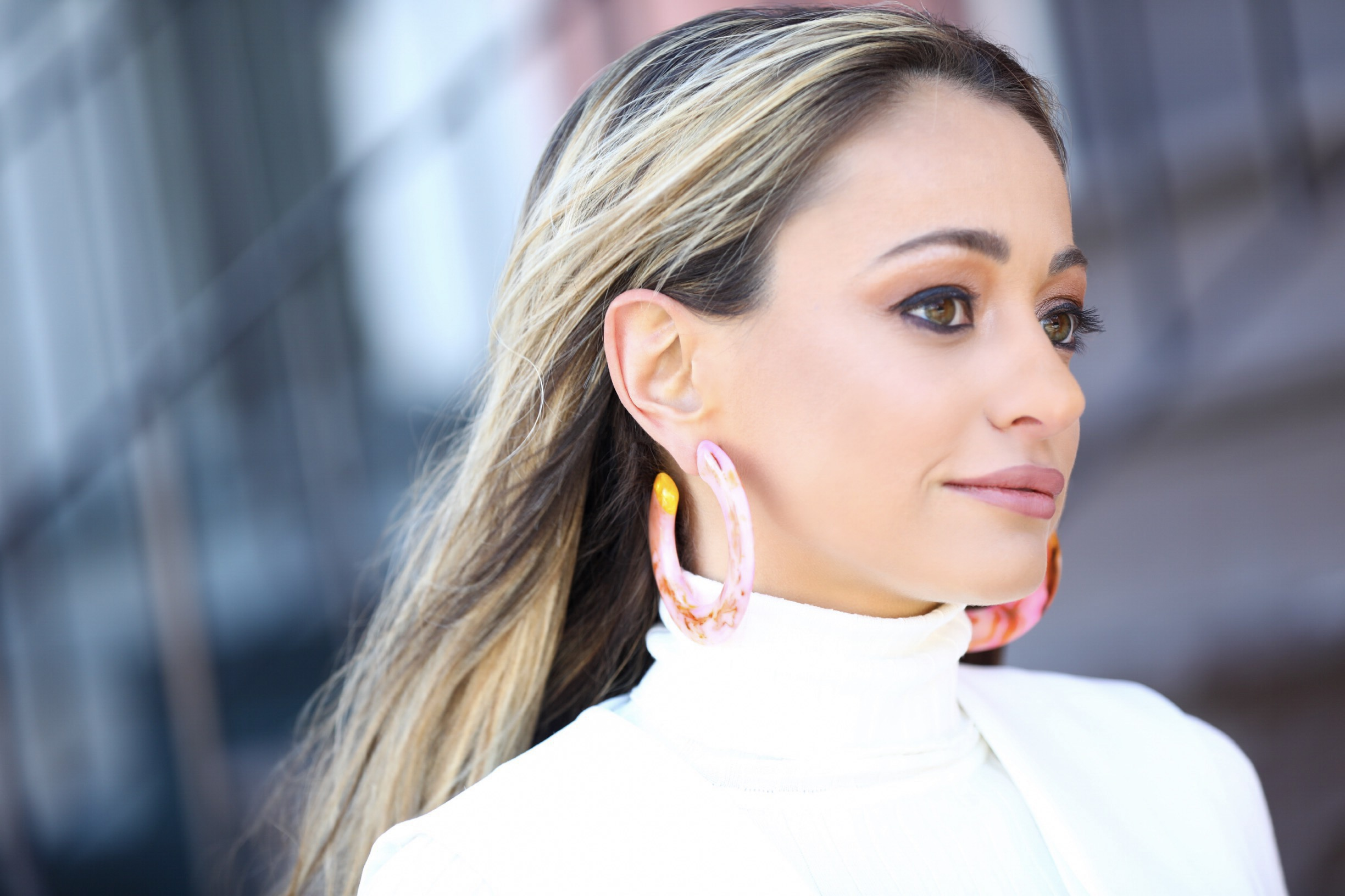 New York City style blogger Lauren Recchia in the Kennedy earrings by Cult Gaia