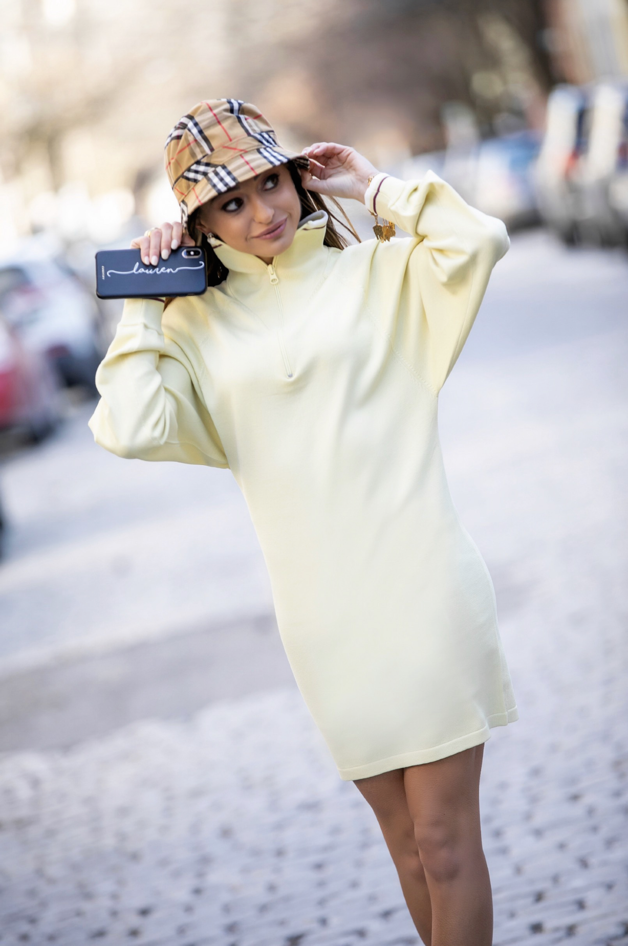 Burberry bucket hat, Isabel Marant Etoile dress, customized casetify cell phone case