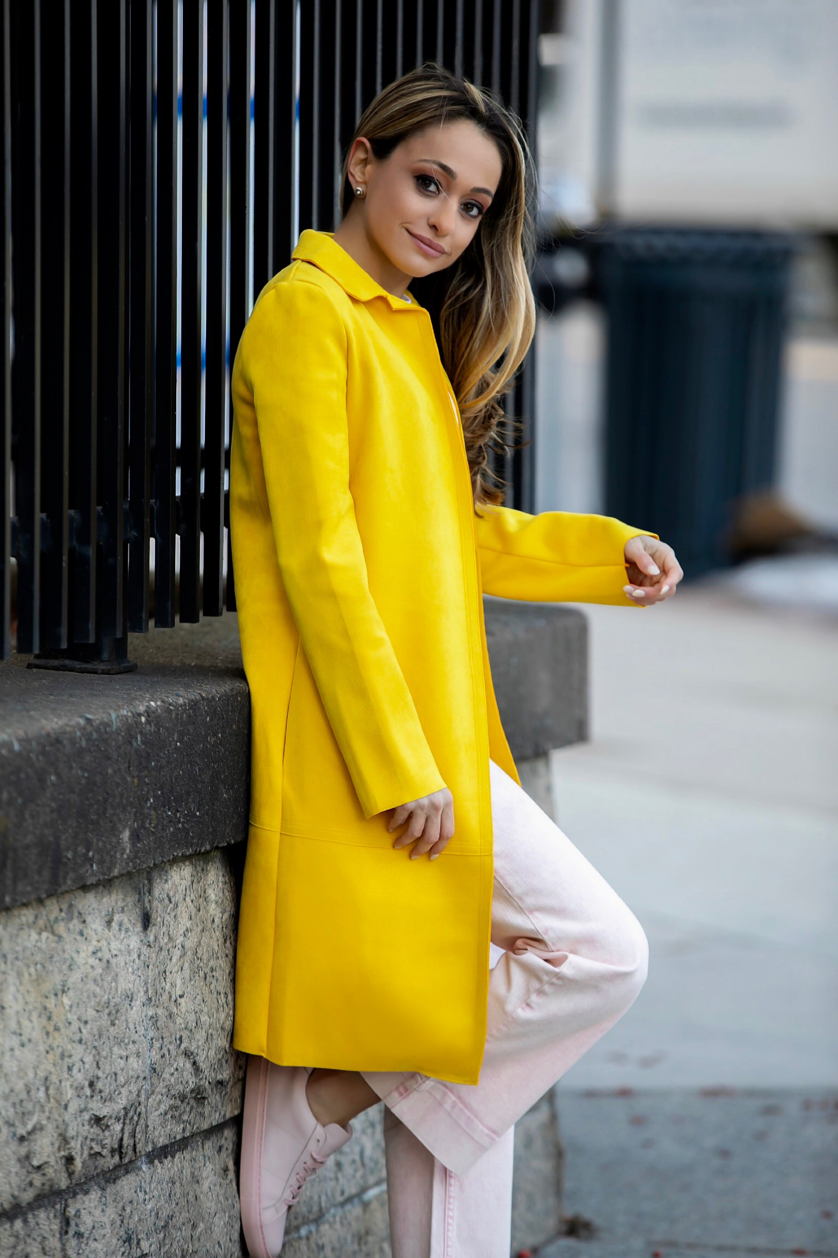 yellow suede coat