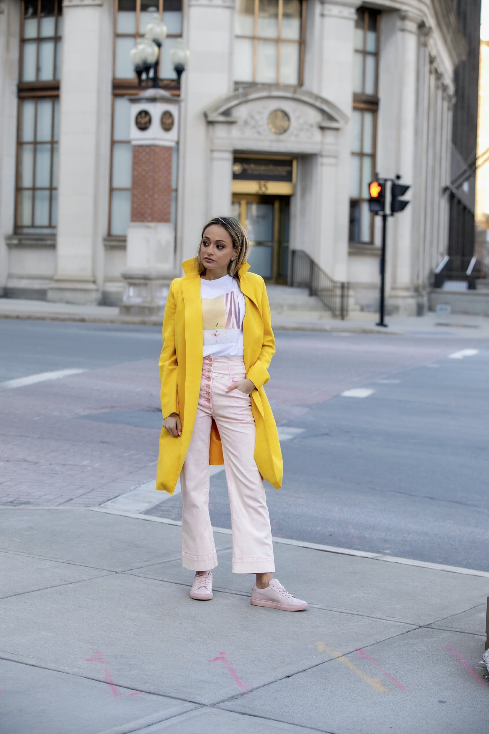 spring streetstyle in pink and yellow