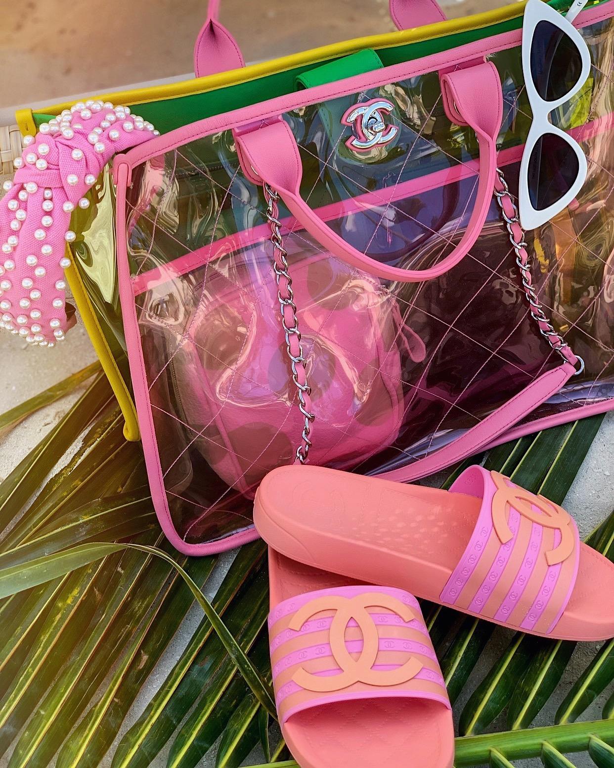 Chanel Bag/ Slides| Headband:   LeLe Sadough    i  | Sunnies:   Le Specs