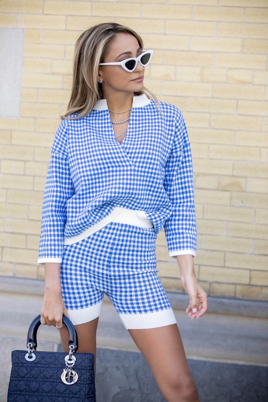 checkered knit cycling shorts