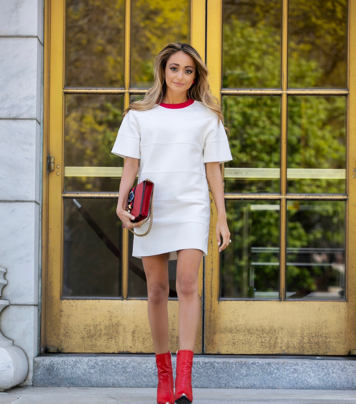 New York City street style blogger Lauren Recchia in Herve Leger  SS19 collection by creative director Christian Juul Nielsen