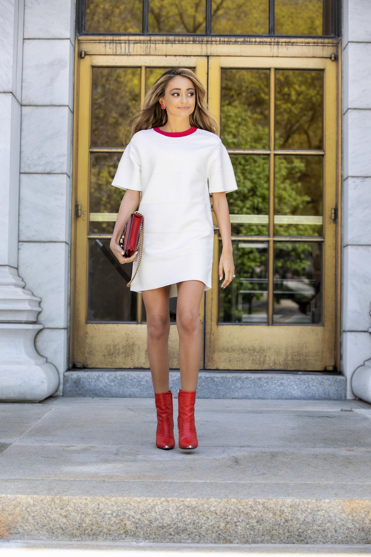 New York City fashion blogger Lauren Recchia of North of Manhattan seen in Herve Leger SS19
