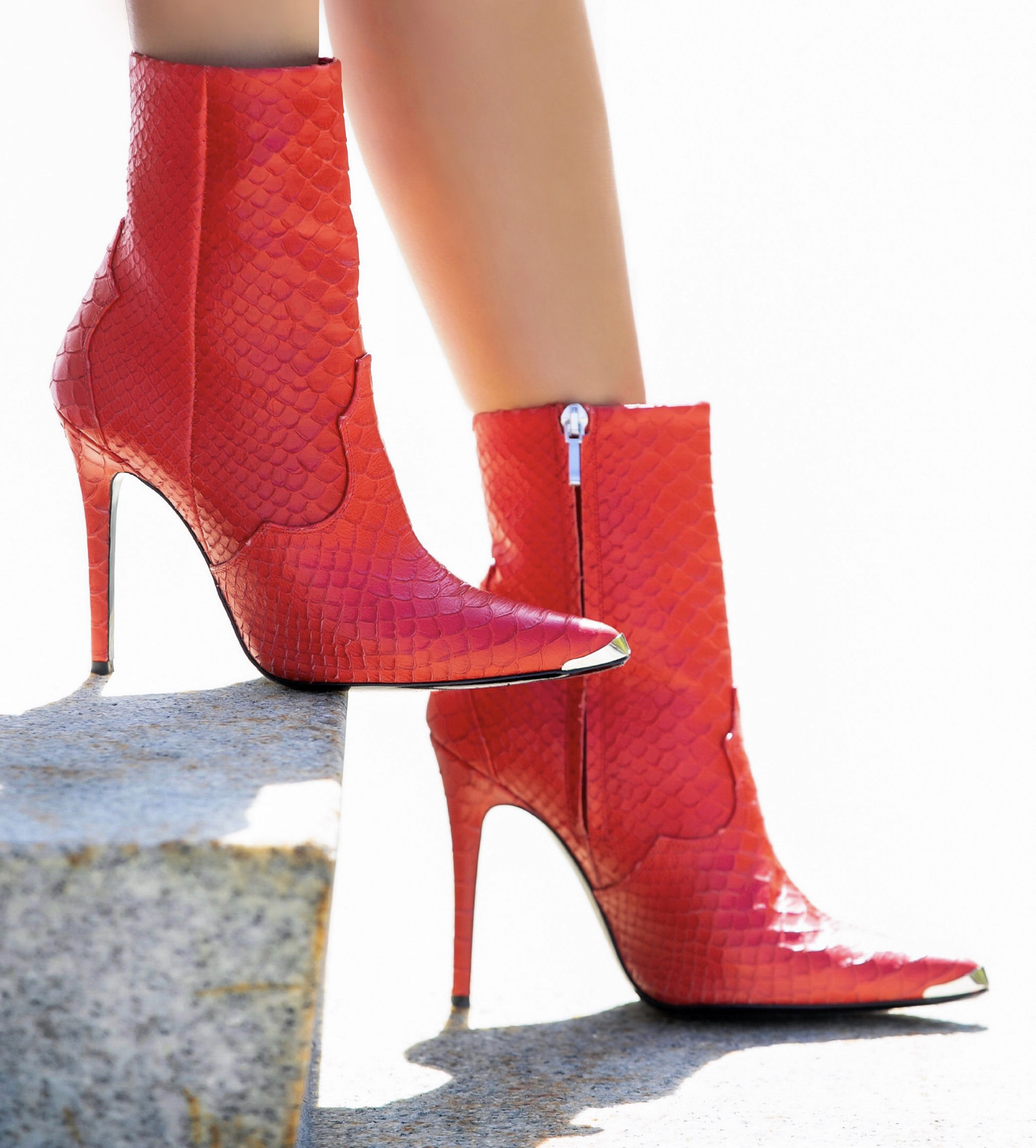 red snakeskin boots