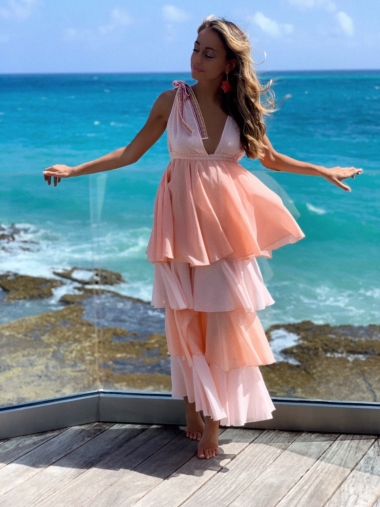 Lauren Recchia wearing a Pitusa pink ruffle dress at the condado vanderbilt in puerto rico