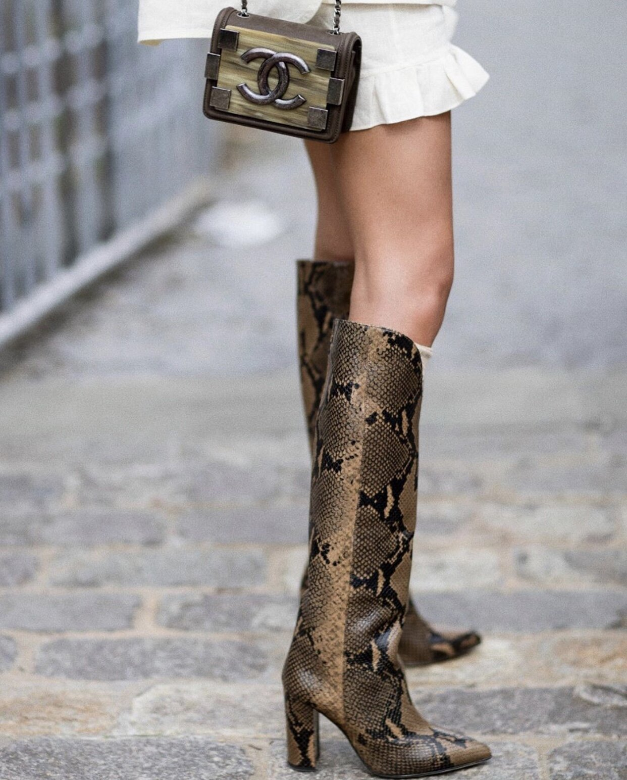 Paris Texas python-embossed boots