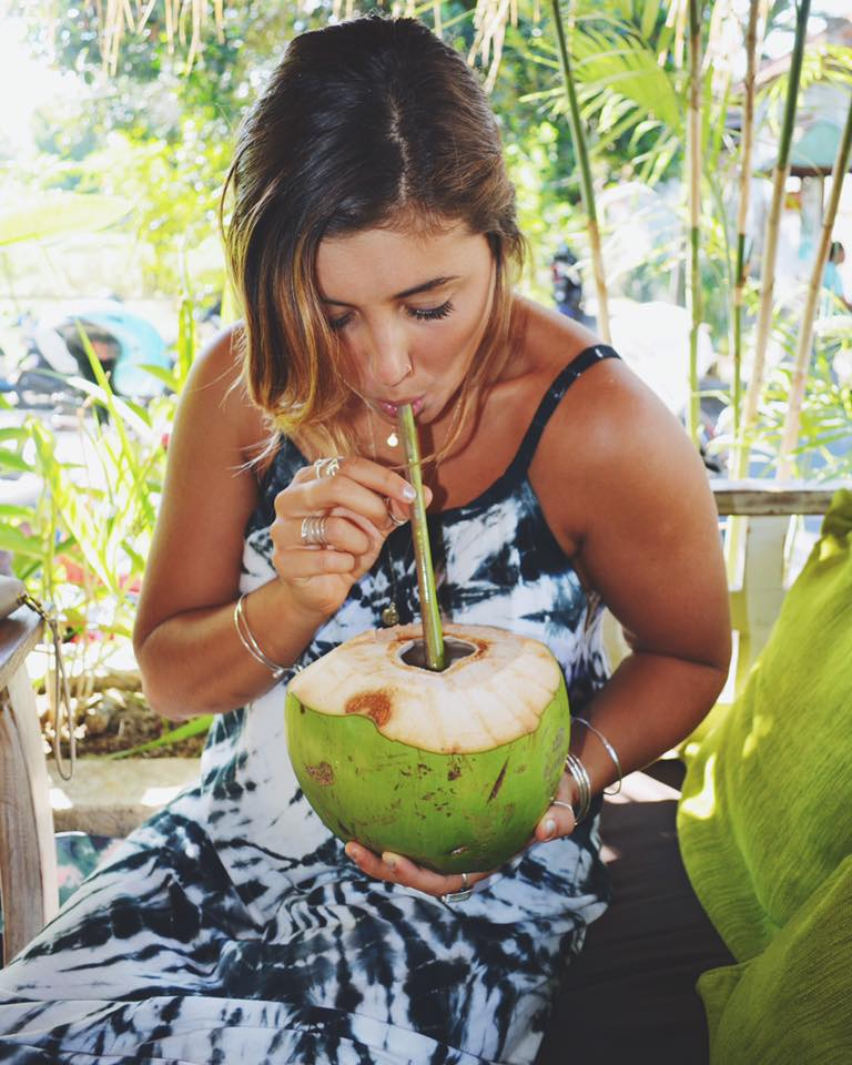 $1.50 Cold Coconuts with Lime at Alchemy Cafe in Ubud, Bali