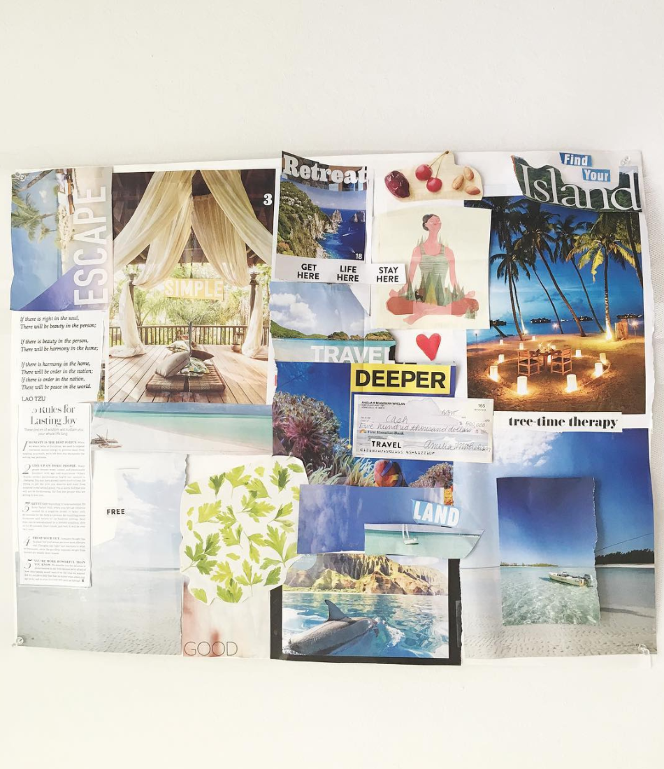 A vision board I made from recycled magazine clippings 1 1/2 years ago. Included in this vision board is my check for $500,000 as well as an image of the Na Pali coastline of Kauai from a travel magazine. My dream location. I now live 3 miles away from the Na Pali coast and walk/hike/explore the coastline by boat frequently. Each time, I remind myself how fortunate I am to have attracted such a sacred environment into my reality.   I hung this vision board on the ceiling directly above my bed, so that when I woke up each morning, this sign was the first thing that came into my visual consciousness.