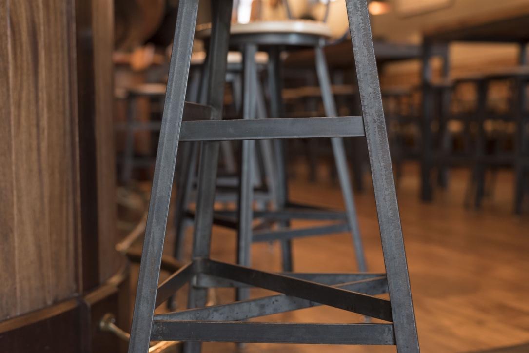 Custom barstool at the Pressroom Restaurant