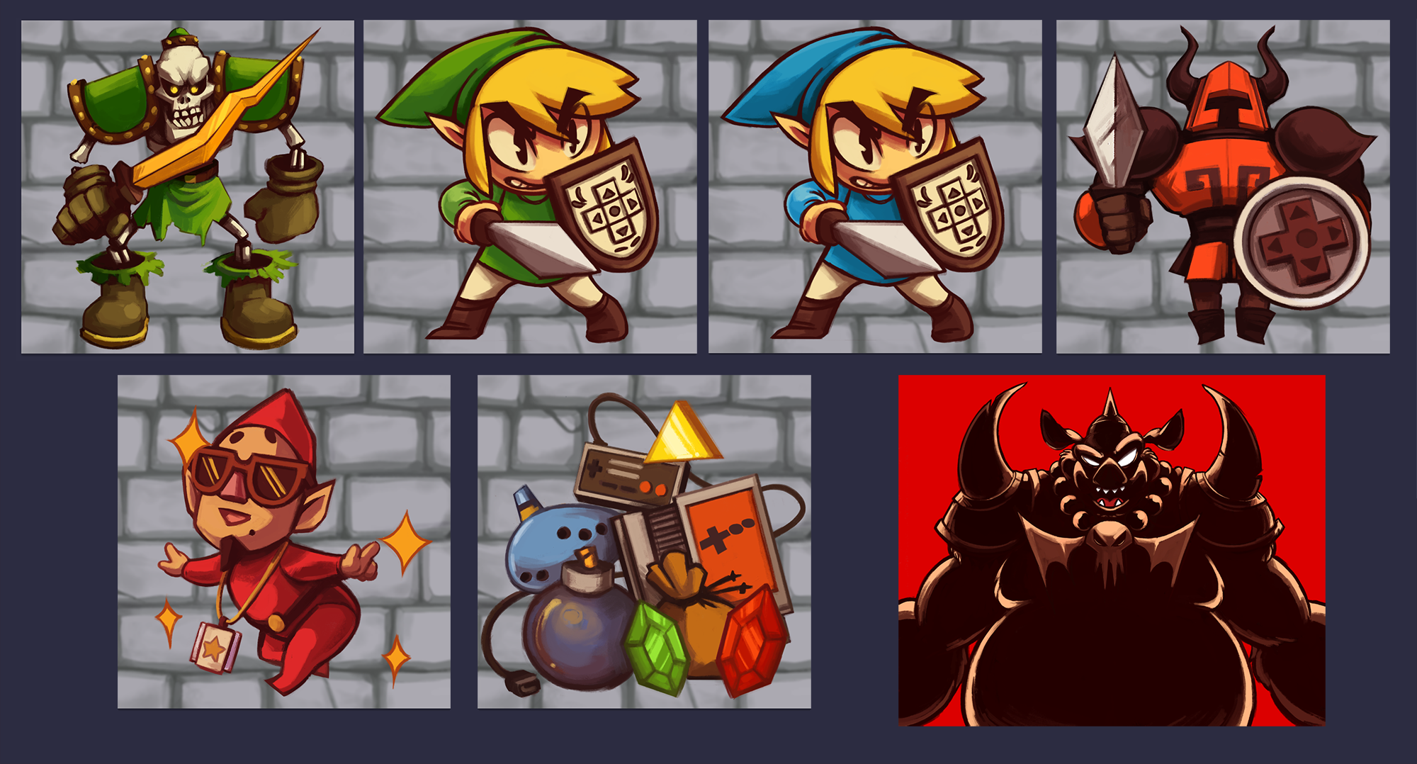 """Character badge designs for the convention's """"Zelda"""" theme"""