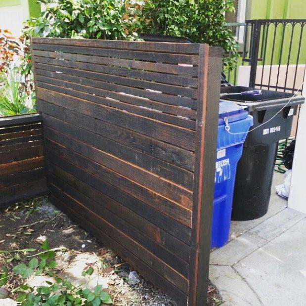 Reclaimed wood garbage, trash enclosure, Los Angeles