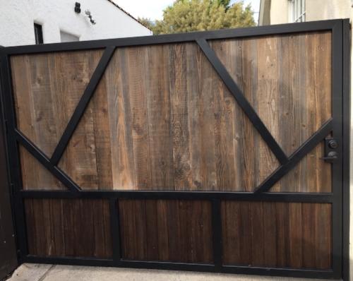 Custom Driveway gate - Reclaimed Wood, Steel Frame