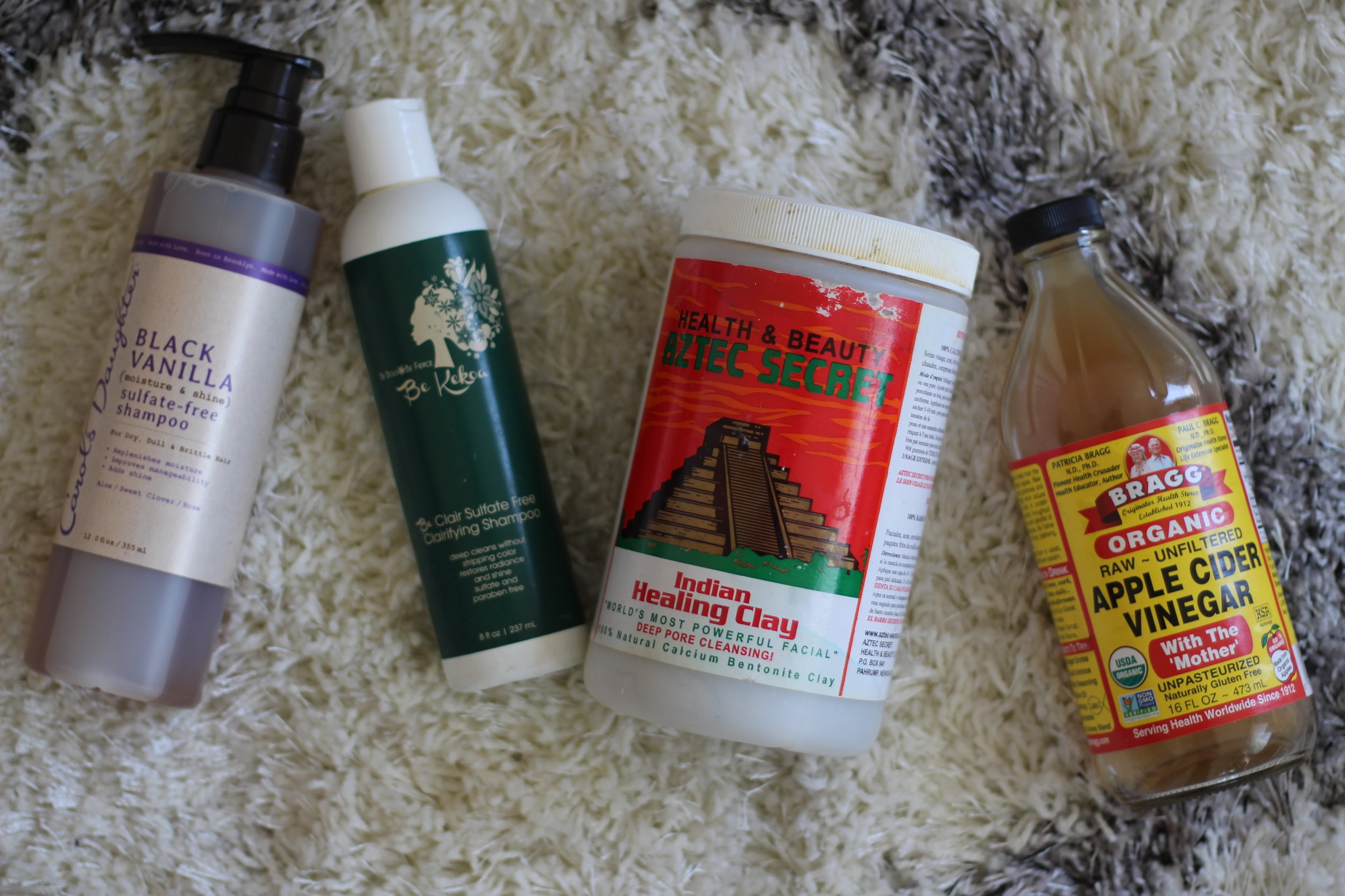 Carol's Daughter Black Vanilla Shampoo, Bekekoa Be Clair Sulfate free shampoo,Aztec Indian Clay, and Apple Cider Vinegar