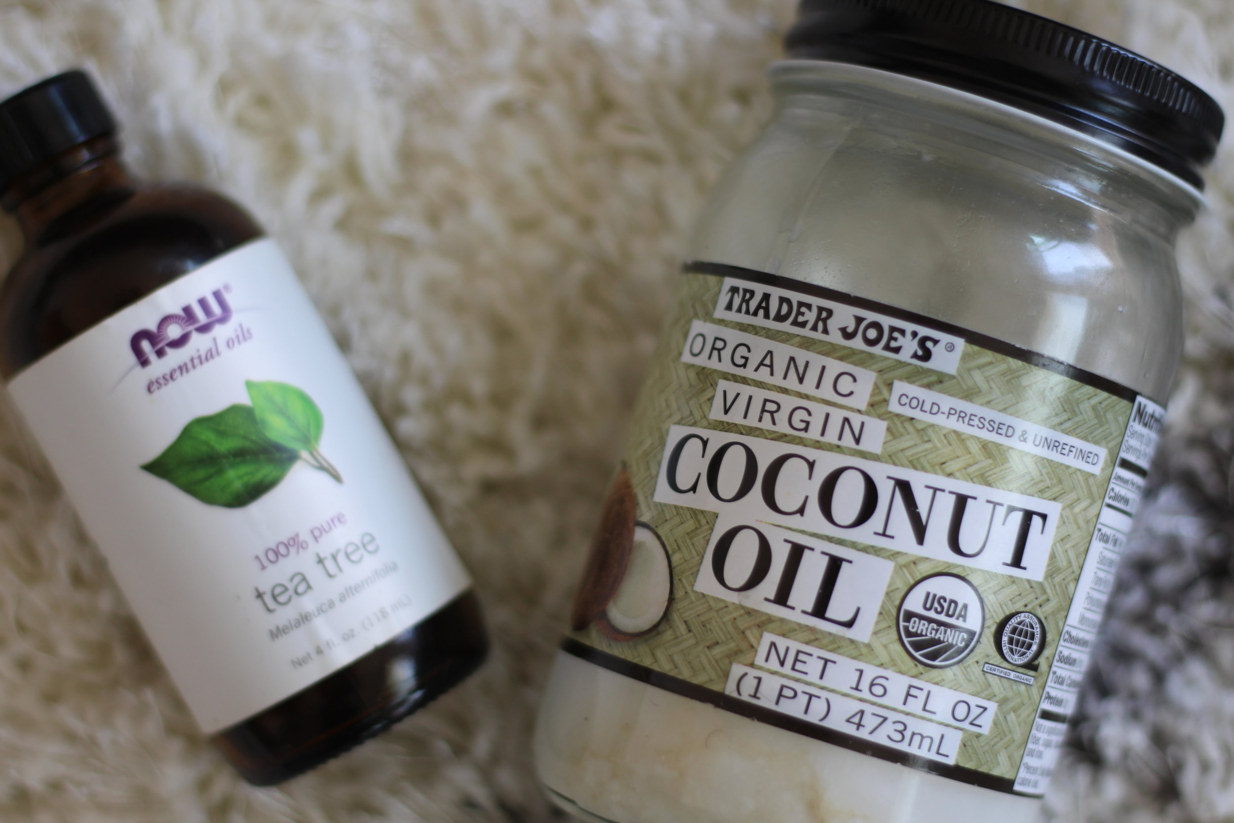 100% Pure Tea Tree Oil, Trader Joe's Organic Coconut Oil