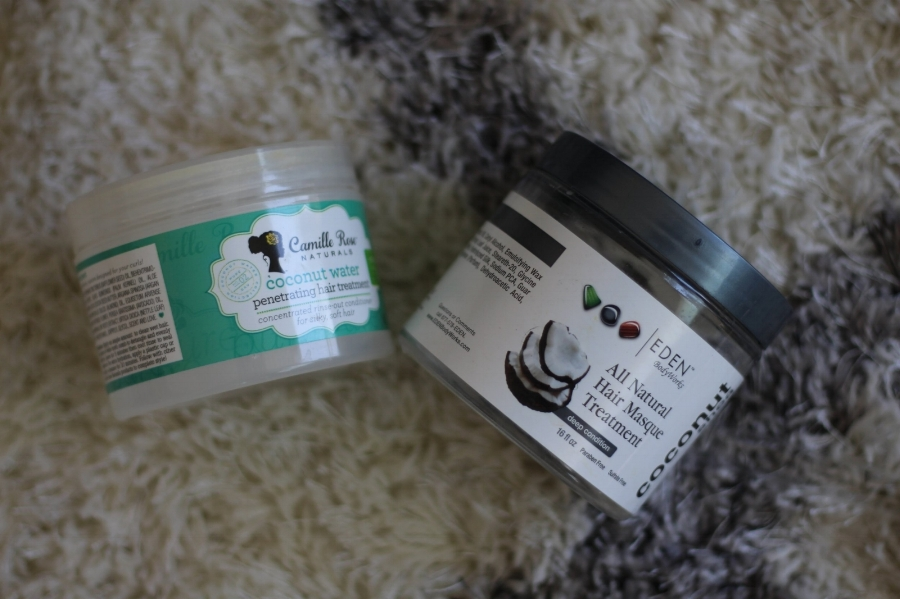 Camille Rose Natural's Coconut Water Penetrating Treatment  and  Eden Body Works All Natural Hair Masque Treatment