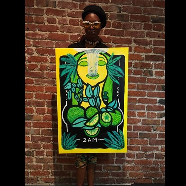 @2aabena does it again! This beautiful piece of art was inspired by her favorite strain, Durban Poison 🤩 #bergamotoranges #livepainting #bayareaart #bayareaartist #2amisthetime #blackgirlmagic #supportlocal #sanfrancisco #oakland #california #cannabiscommunity #highsociety