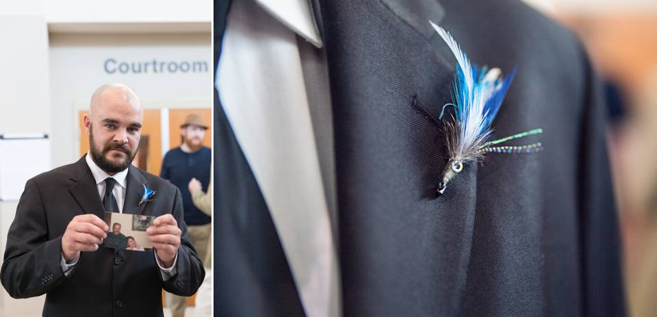 Josh carried a picture of his father in his pocket. His boutonnière was perfect, he's an avid fisherman!
