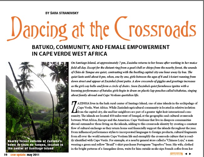 This is an article sample that was written about my research in Cabo Verde, West Africa. A story about women and sustainability and community building.