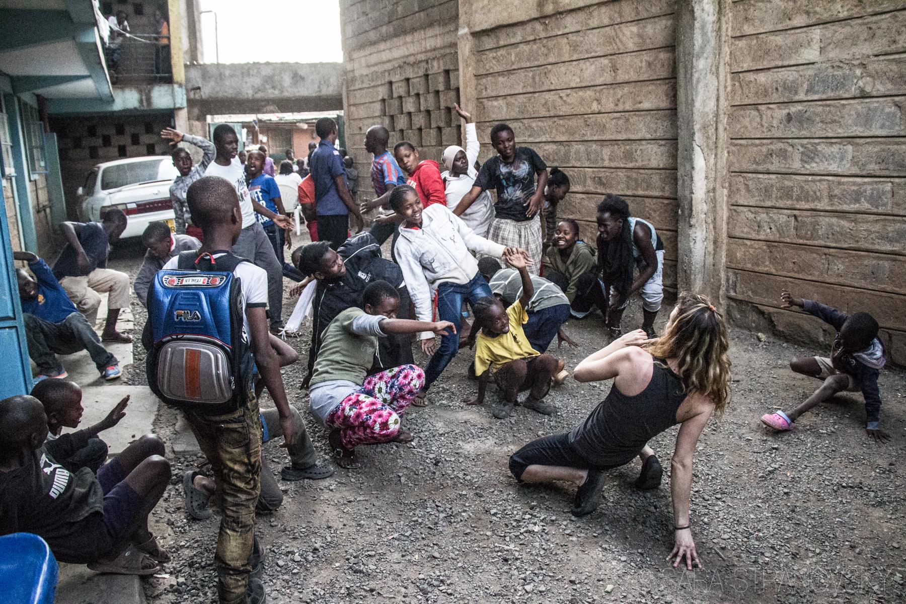 Teaching dance in Kenya