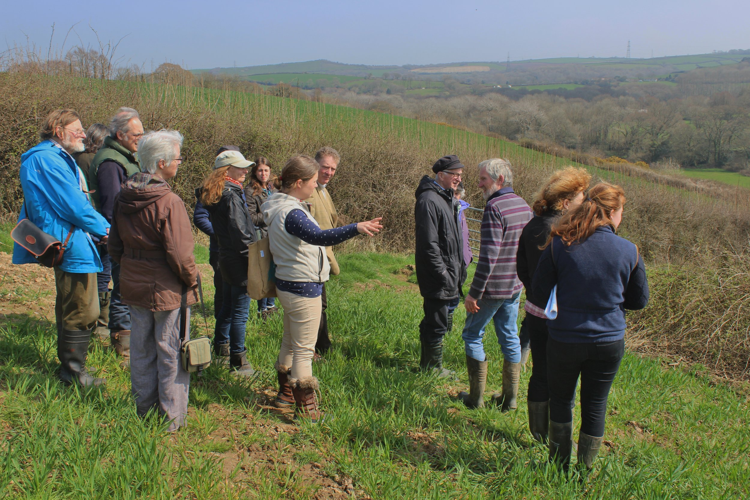 Becky Hughes from FWAG leading the farm visit to illustrate voluntary approaches to conservation outside farm payment schemes at Withiel