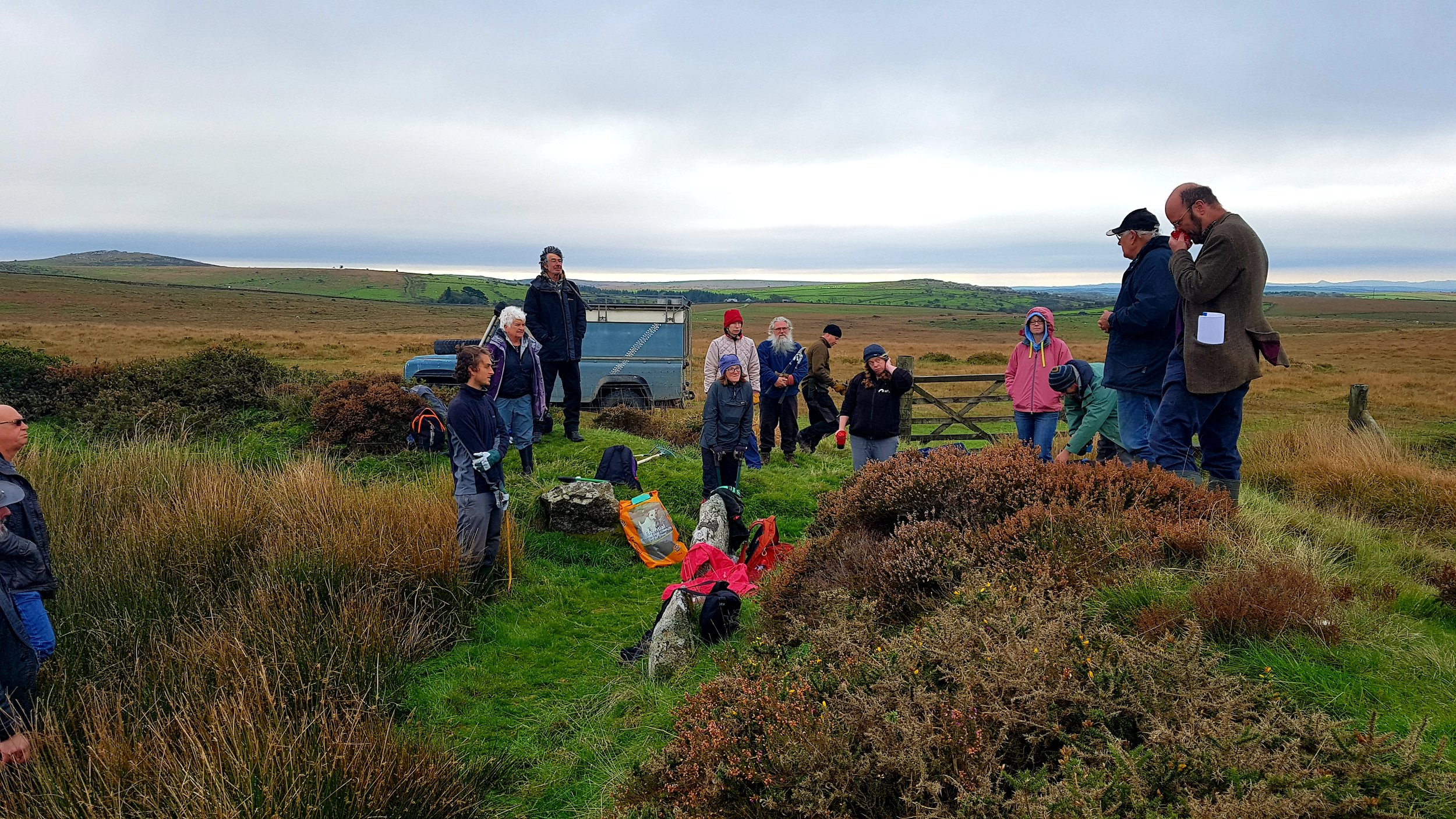 Volunteers consisting of TimeSeekers, Cornwall Archaeological Society and members of the AONB Staff Unit begin the site clearance of the mysterious King Arthur's Hall on Bodmin Moor in October 2018