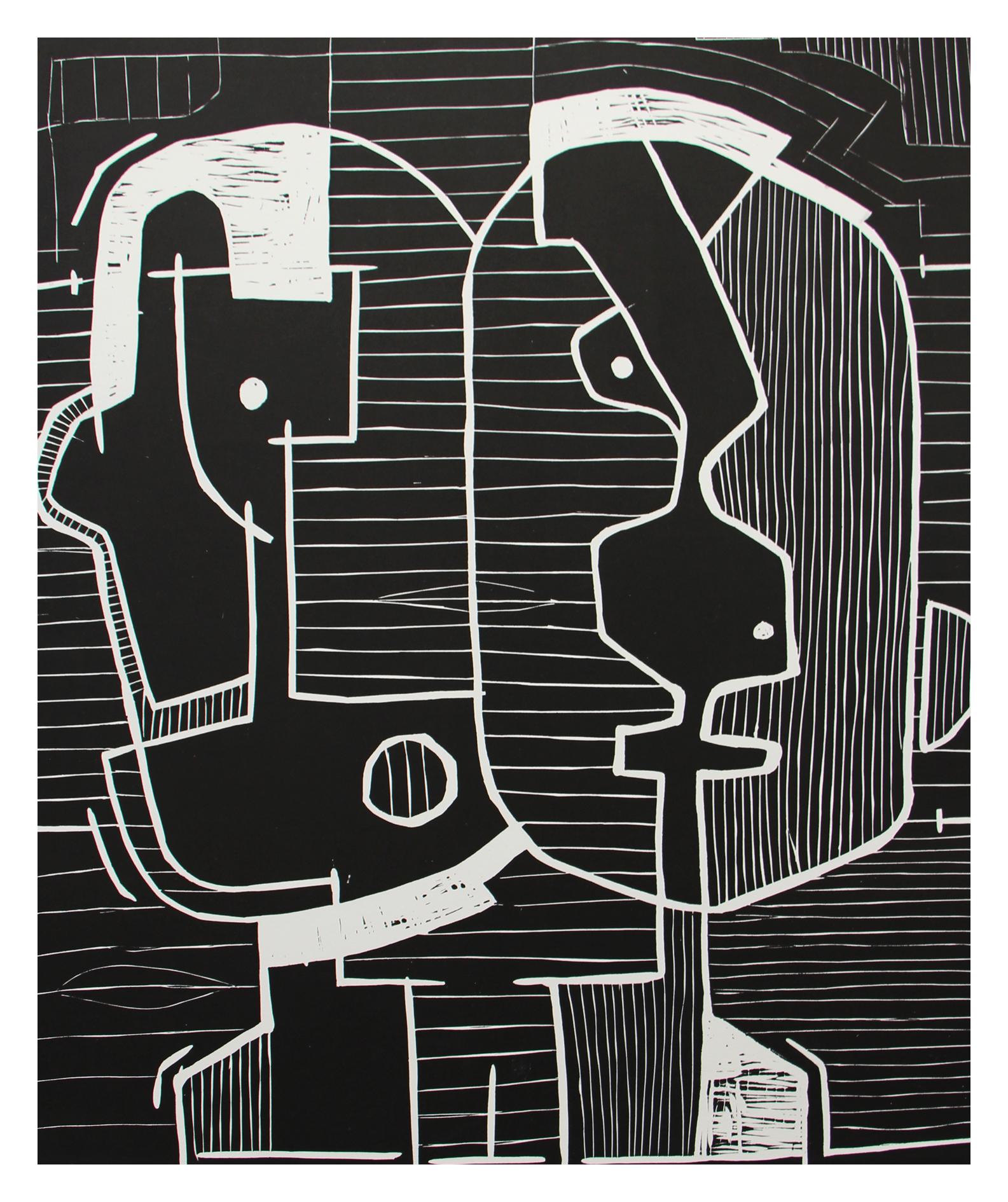 Renée Rossouw  Faces  I/VI Linocut on Zerkel Litho 53.5 x 41.5 cm R3 600