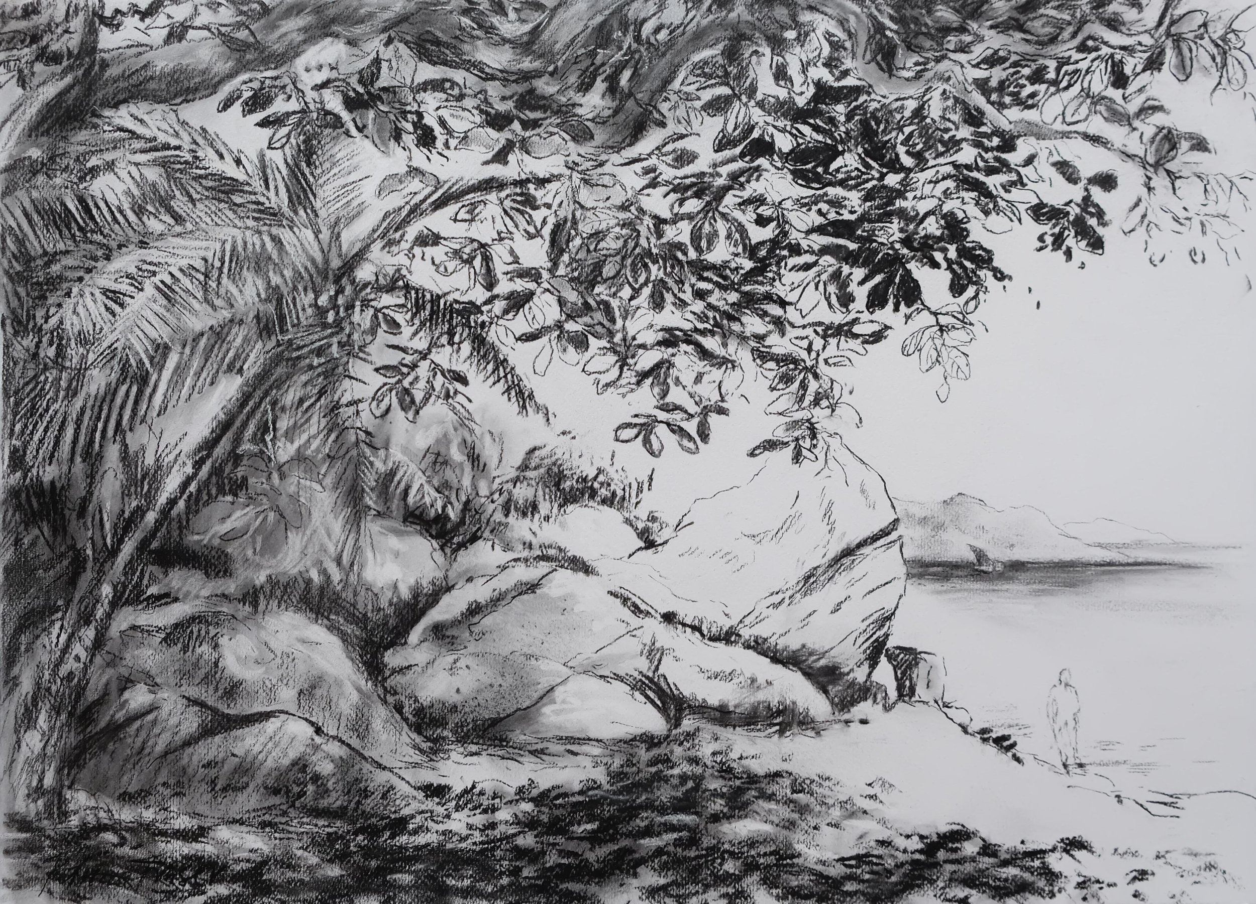 MORNING PASSAGES  50 x 71cm Charcoal on paper R 7 400