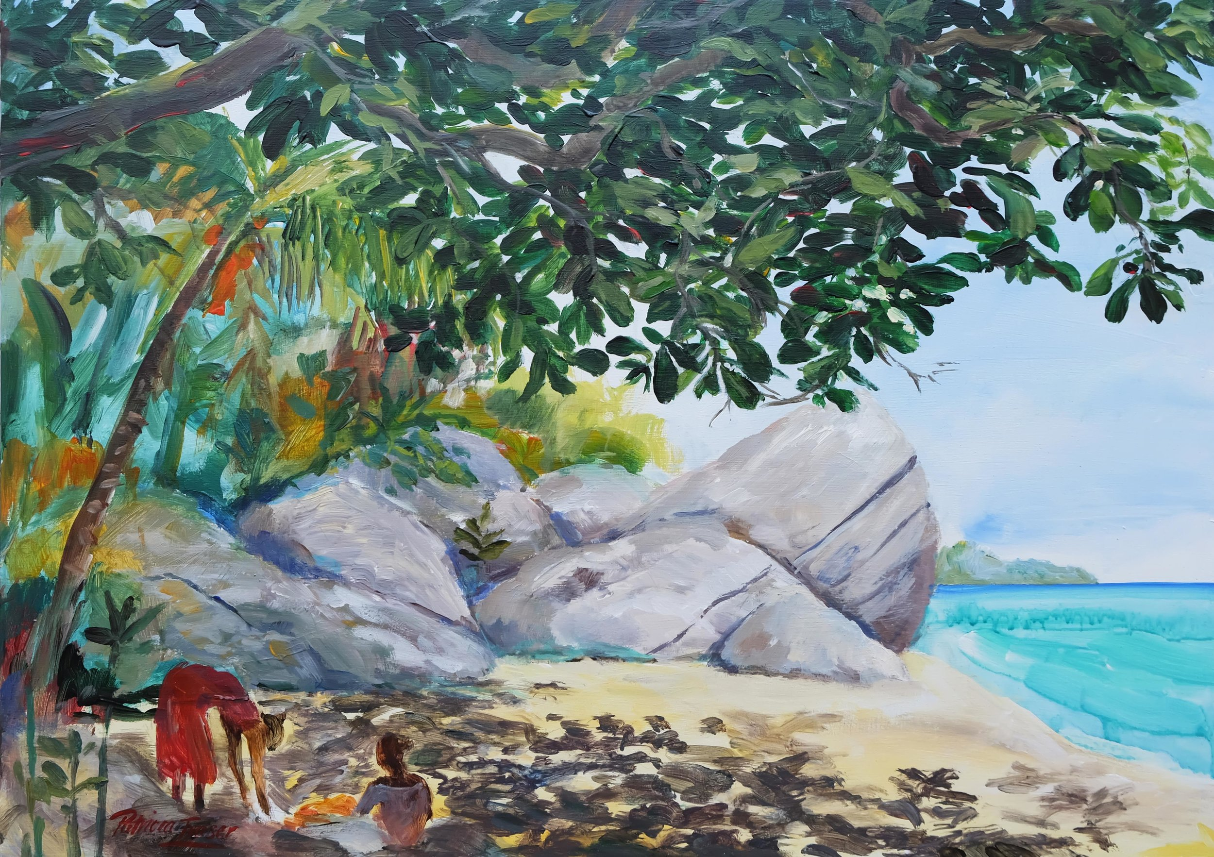 SEWING ON THE SAND  45.5 x 64cm Acrylic on Board R 8 800