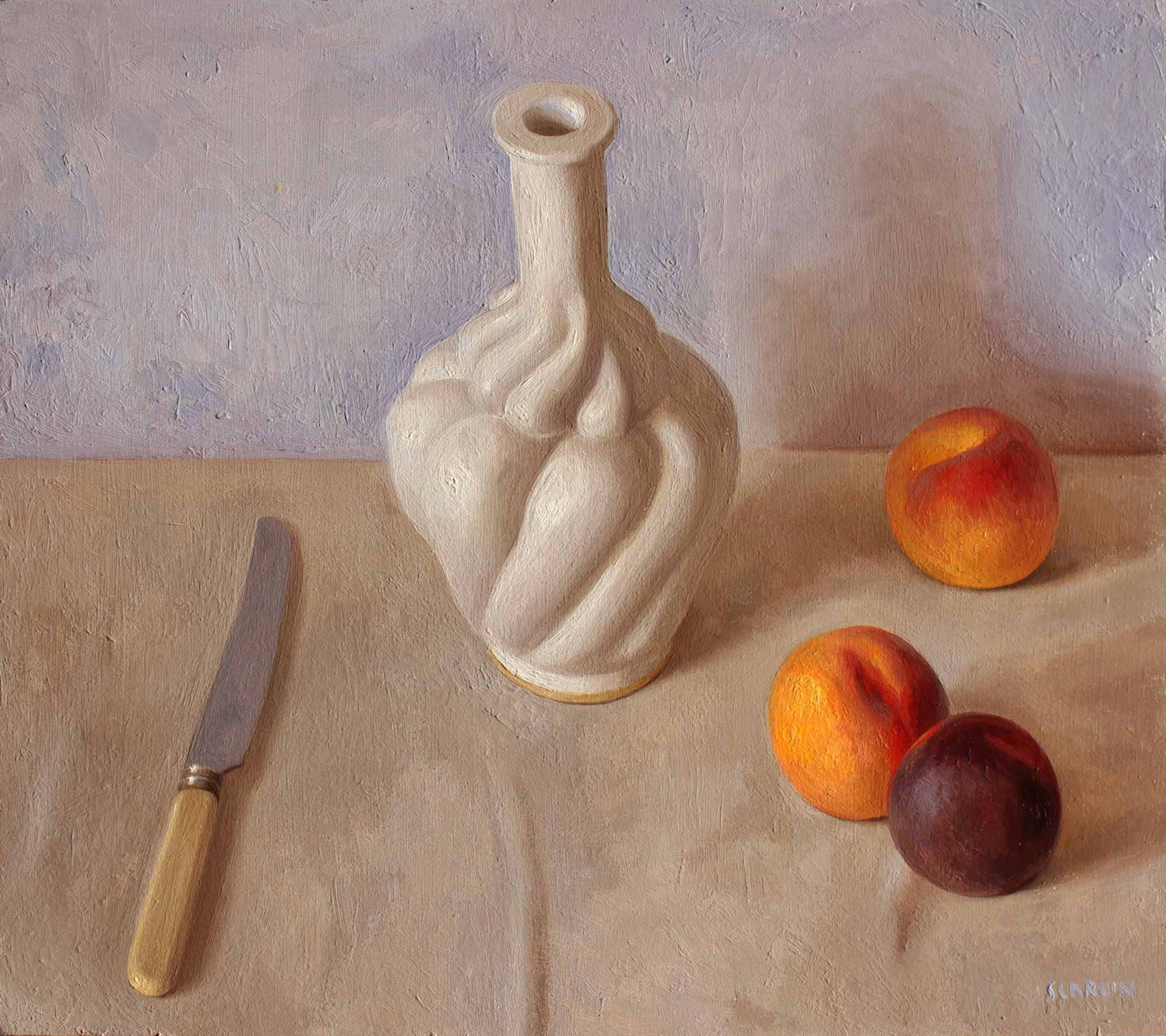 Arrangement with Bottle and Peaches  Oil on Panel  40 x 45cm