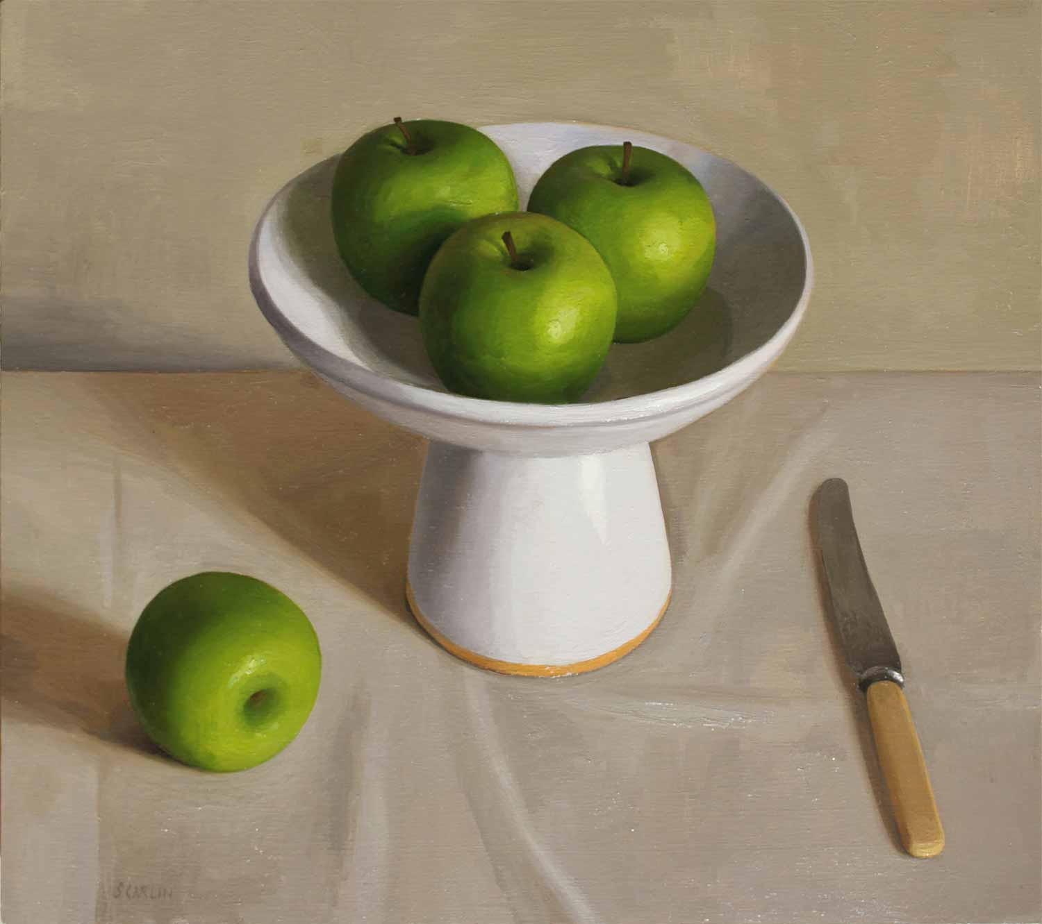 Apples and Knife    Oil on Panel  40 x 45cm  R12 400