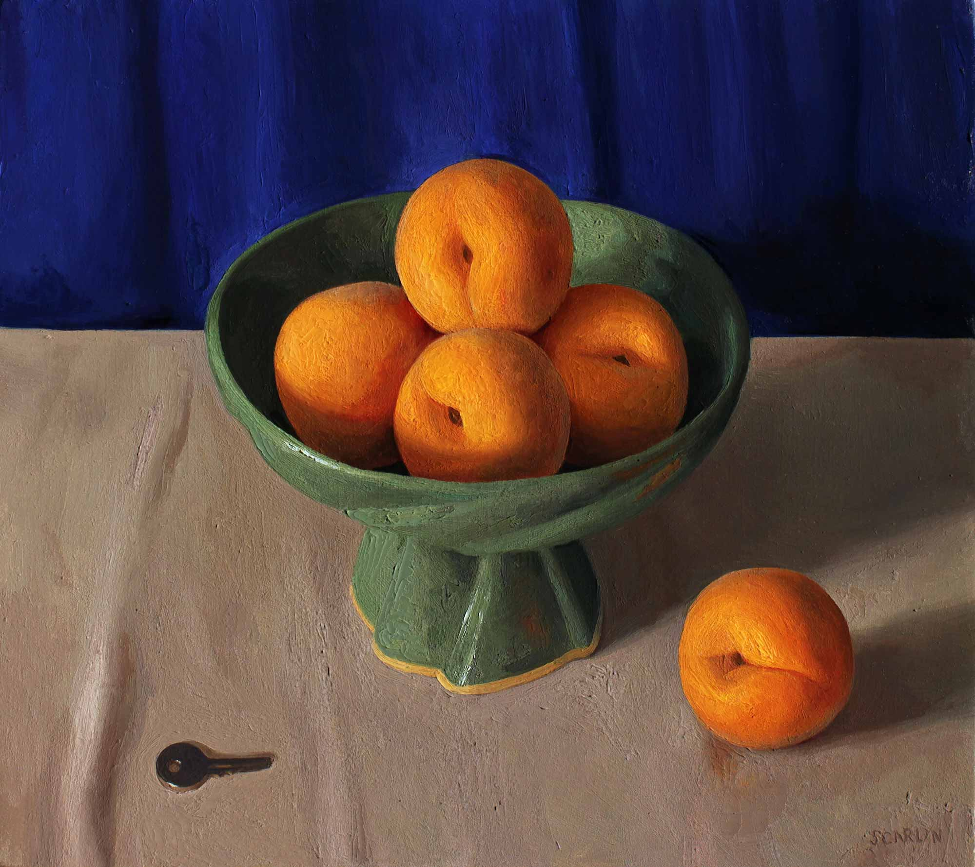 Cling Peaches and Key    Oil on Panel  40 x 45cm  R12 400