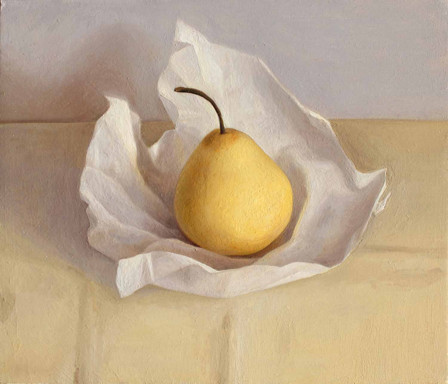 Pear in Paper   Oil on Panel  30 x 35cm  R8 400
