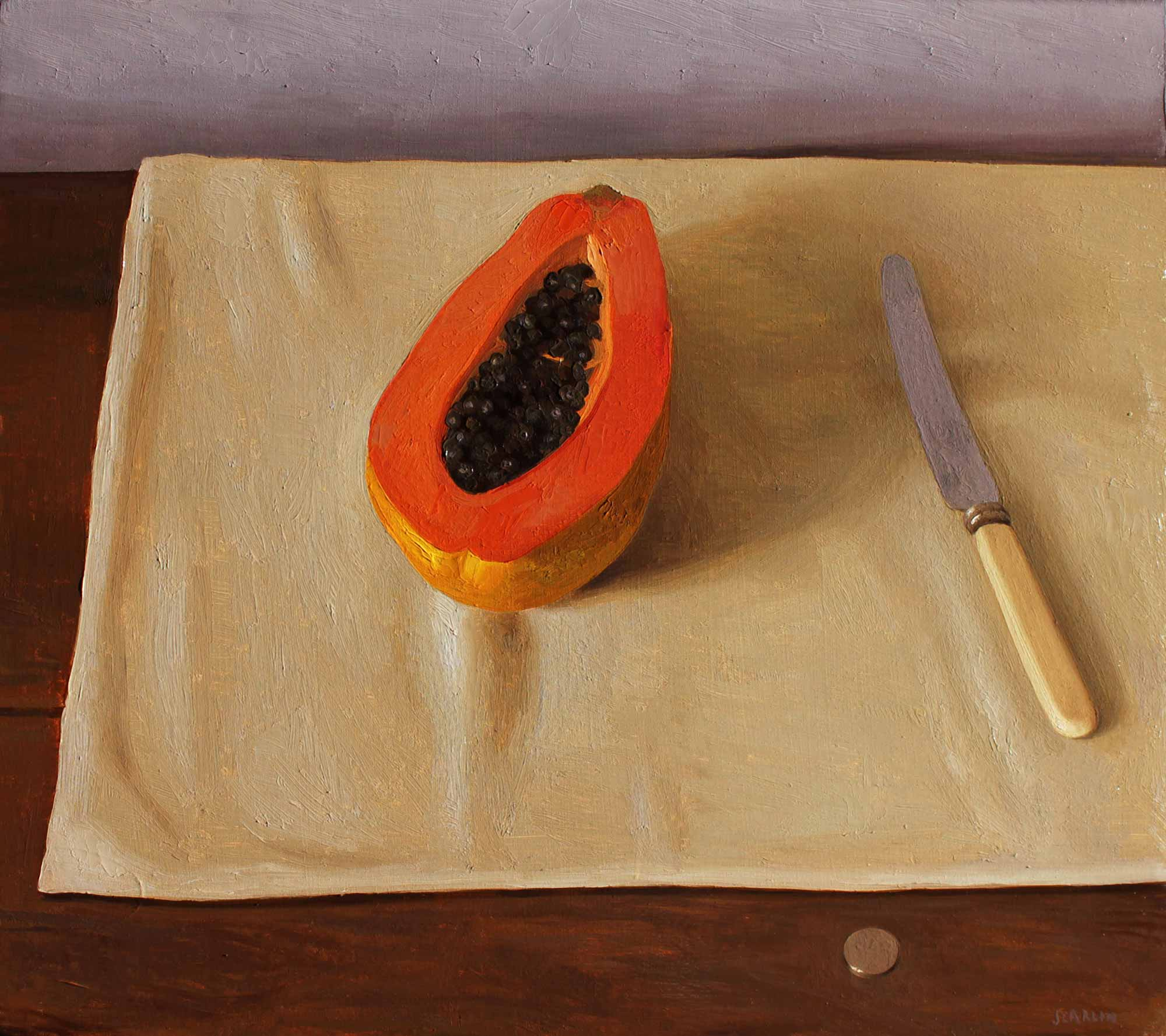 Papaya, Knife and Coin   Oil on Panel  40 x 45cm  R10 200