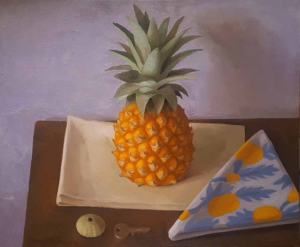 Pineapple, Shell and Key   Oil on Panel  40 x 45cm  R16 200